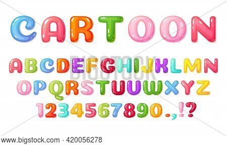 Cartoon Kids Font. Colorful Comic Alphabet For Children. Cute Childish Bubble Letters And Numbers, G