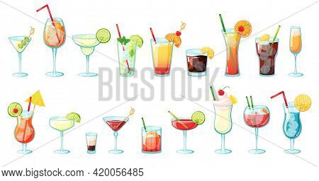 Alcohol Drinks. Summer Tropical Cocktails With Ice, Citrus Fruits, Mint. Glasses With Alcoholic Beve