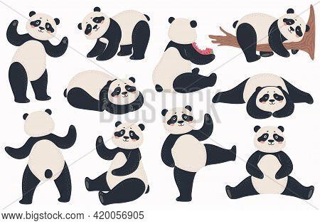 Panda. Cute Pandas Chinese Bear In Various Poses Standing, Lying And Sitting, Dancing. Happy Asian B