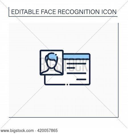 Identification Card Line Icon. Personal Identification Document. Biometric Data. Identity Detection
