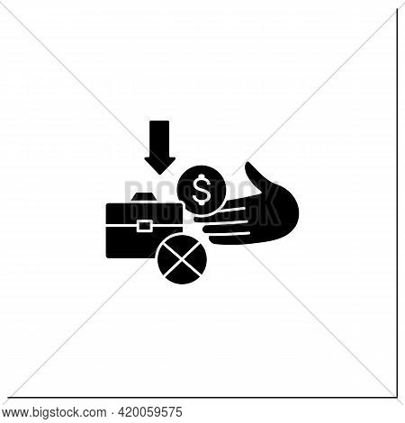 Unemployment Benefit Glyph Icon. Cash Benefits For Fired Workers. Unemployment Insurance, Payment, C