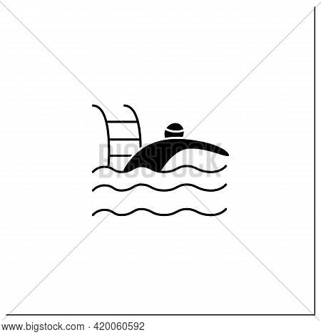Swimming Glyph Icon. Team Ar Individual Racing Sport. Swimmer Swim Through Water In Swimming Pool.at