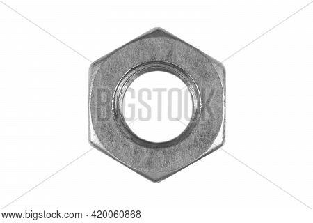Macro Shot Metal Nut Isolated On White Background. Chromed Screw Nut Isolated. Steel Nut Isolated. N