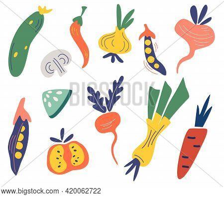 Vegetables Set. Big Collection Of Colored Hand Drawn Fresh Vegetables. Big Bundle Of Tasty Vegetaria