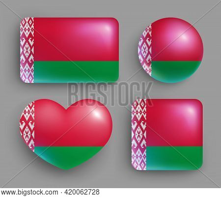 Glossy Buttons With Belarus Country Flags Set. European Country National Flag Shiny Badges Of Differ