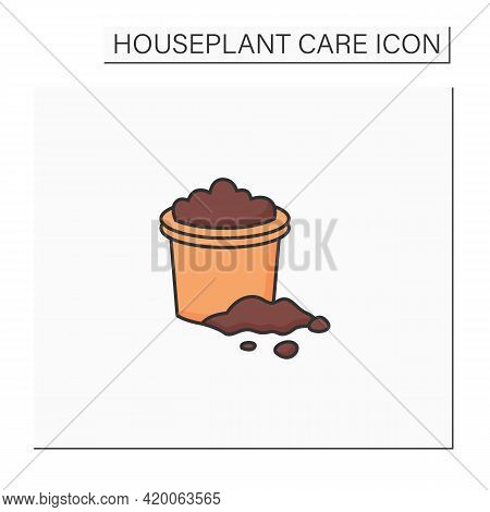 Soil Color Icon. Soil In A Pot. Necessary For Planting Plants. Rich In Minerals. Houseplant Care Con