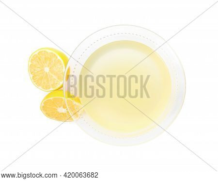 Freshly Squeezed Lemon Juice On White Background, Top View