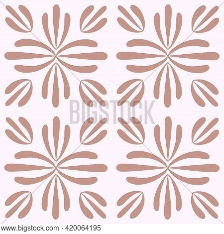 Tile Portugal Flower Seamless Pattern. Pastel Pink Geometric Background. Traditional Azulejo Repeat