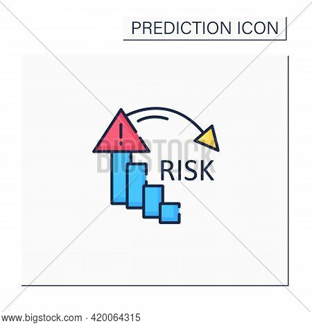 Reducing Risk Color Icon. Reducing Failure Rate. High Quality Production. Warning Sign. Statistic.pr