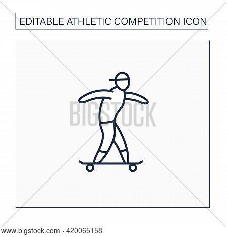Skateboarding Line Icon. Extreme Sport. Skating, Performing Various Stunts On Skateboard. Skateboard