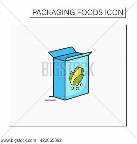 Breakfast Cereals Color Icon. Cereal In Carton Package. Protection, Tampering Resistance. Packing Fo