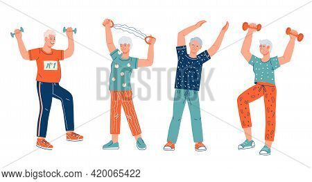 Group Of Elderly People Keep Fit Through Sport Exercises, Cartoon Flat Vector Illustration Isolated