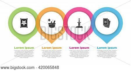 Set Ancient Magic Book, Witch Cauldron, Sword In The Stone And Three Tarot Cards. Business Infograph