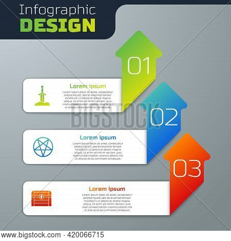 Set Sword In The Stone, Pentagram A Circle And Antique Treasure Chest. Business Infographic Template