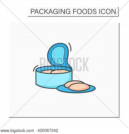 Canned Tuna Color Icon. Steel Container.portion Control, Protection, Tampering Resistance From Bacte
