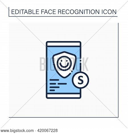 Id Verification Services Line Icon. Mobile Application. Biometric Data Verification.cyber Protection