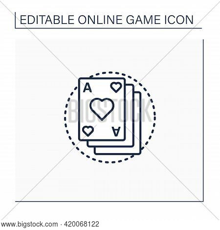 Card Game Line Icon. Deck Of Game Cards. Gambling. Interesting Gameplay Process. Online Game Concept