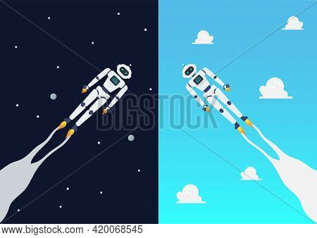 Android Robots Flying On Day And Night Sky. Vector Illustration.