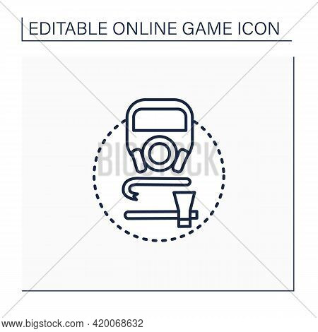 Survival Game Line Icon. Action Video Games. Hostile, Open-world Environments. Minimal Equipment Req