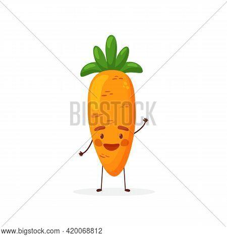 Cute Flat Cartoon Carrot Illustration. Vector Illustration Of Cute Carrot With A Smiling Expression.