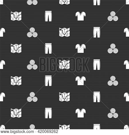 Set Golf Shirt, Ball, Course Layout And Pants On Seamless Pattern. Vector