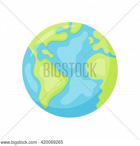 Vector Cartoon Flat Globe Illustration Isolated On A White Background. Flat Earth Planet With Contin