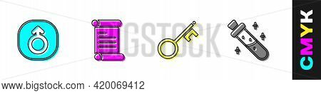 Set Mars, Decree, Parchment, Scroll, Old Key And Bottle With Potion Icon. Vector