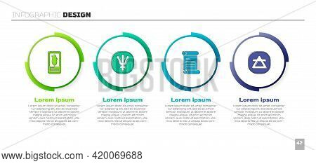 Set Tarot Cards, Neptune Planet, Decree, Parchment, Scroll And Air Element. Business Infographic Tem