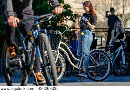Uzhgorod, Ukraine - May 10, 2021: Cyclists Gather In The Square Before The Mass Bike Ride During The