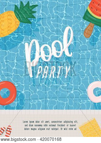 Pool Party Poster Or Flyer With Swimming Pool And Swim Ring. Vector Illustration For Banner, Web Sit