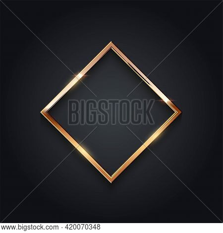 Golden Rhobus Frame For Picture On Gray Background. Blank Space For Picture, Painting, Card Or Photo