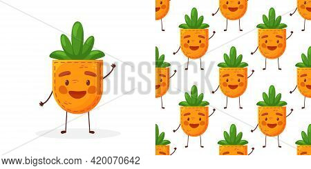 Seamless Pattern Carrot-shaped Patch Pocket. Character Pocket Carrot. Cartoon Style. Design Element.