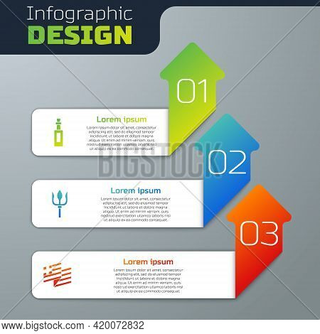 Set Bottle Of Olive Oil, Neptune Trident And Greece National Flag. Business Infographic Template. Ve