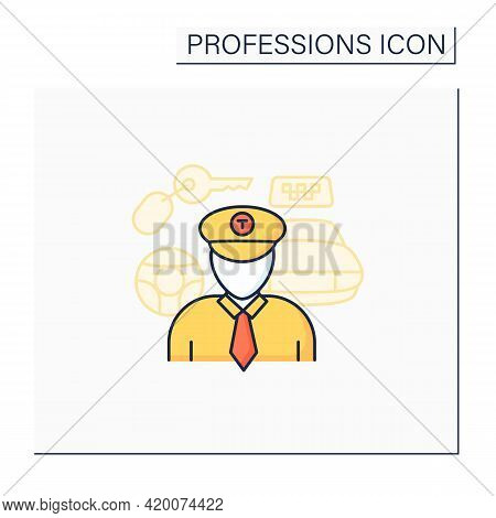 Taxi Driver Color Icon. Professional Driver. Transports Passengers. Important Job. Professions Conce