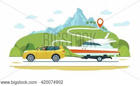 Suv Car With A Driver Tows A Trailer With A Boat. Vector Illustration.