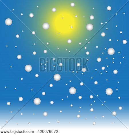 Vector Illustration Of Falling Snow On Blue Sky Background In Winter With Sunshine
