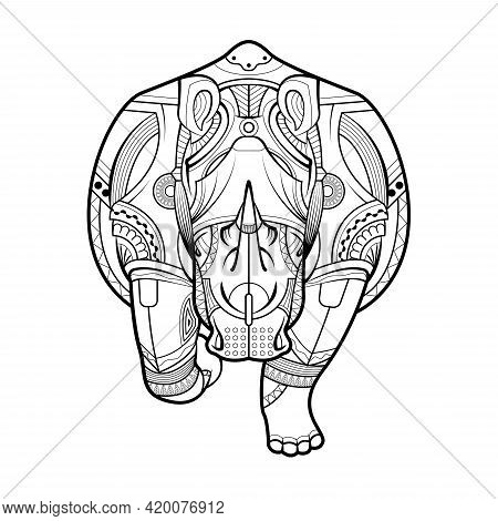Rhinoceros Black White Hand Drawn Vector. Drawing Zentangle Rhino For Coloring Page, Shirt Design Ef