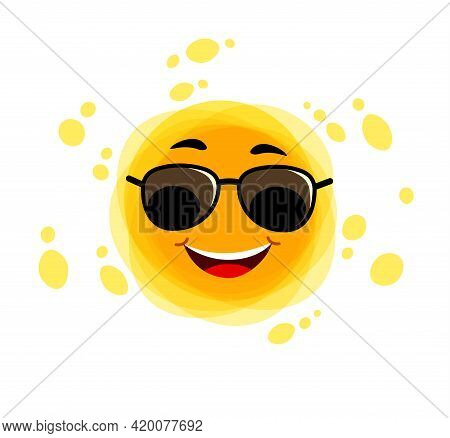 Yellow Cute Sunshine. Childish Sun Joy. Funny Sun. Smiling Sun With Sunbeams Cartoon Character.