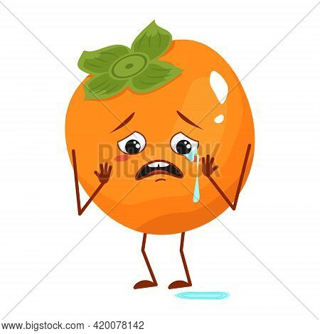 Cute Persimmon Character With Crying And Tears Emotions, Face, Arms And Legs. The Funny Or Sad Hero,