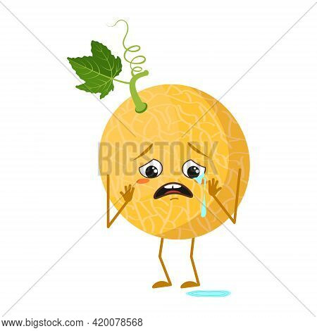 Cute Melon Character With Crying And Tears Emotions, Face, Arms And Legs. The Funny Or Sad Hero, Fru