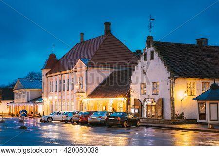 Kuressaare, Estonia. Old Gross Weight Storage Building House Near Market In Tallinna Street At Eveni