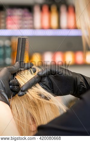 Hairdresser Combing Client's Female Hair Before Dyeing Hair In A Hair Salon