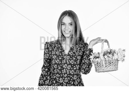 Spring Mood. Beautiful Summer Bloom. Female Florist Designer. Womens And Mothers Day. Girl At Flower