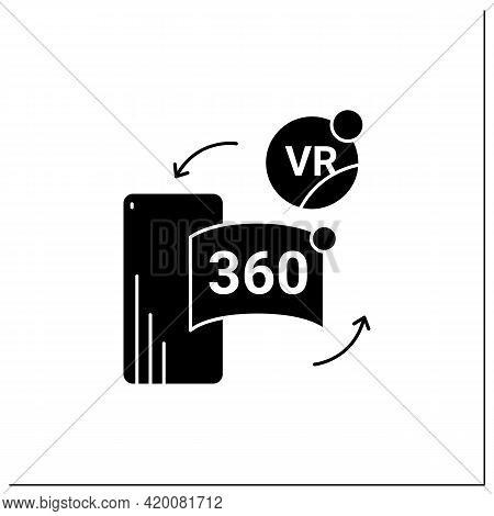 Vr In Cell Phone Glyph Icon. Virtual Reality Application On Telephone. Special App Helps Immerse Int