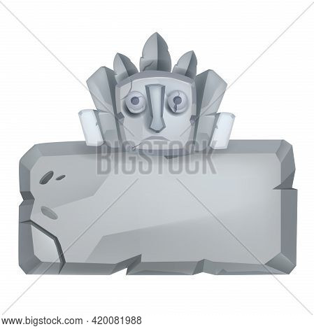 Ancient Vector Stone Sign Board, Cartoon Rock Game Block, Maya Totem Face, Cracked Grey Boulder. Gra