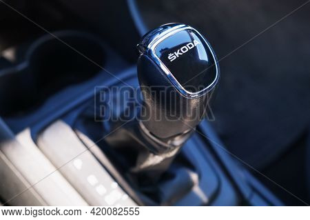 Moscow, Russia 10.05.2021 - Close Up Gear Shift Knob Automatic Transmission Of A Skoda Car. Black Le