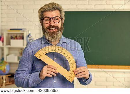 Math Subject. Study Mathematics. Man Teacher Mentoring School Projects. Science Modern School. Matur