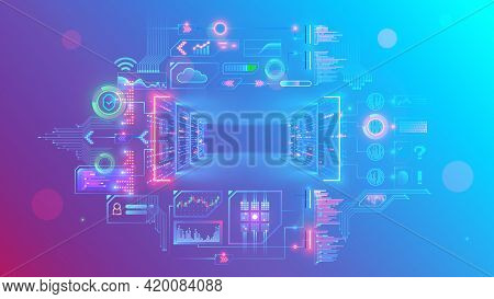 Servers In Digital Data Centers Make Cloud Computing In Server Rack Room. Web Online Service Remote
