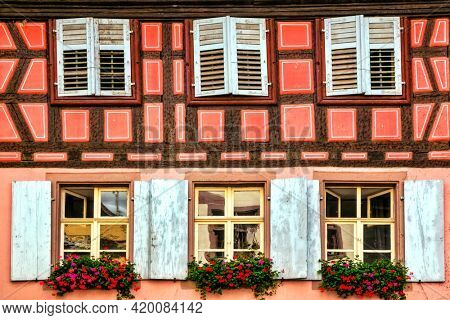 French scenery and architecture, colorful floral streets of Alsace region. Traditional typical villages