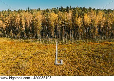 Belarus, Berezinsky Biosphere Reserve. Birds-eye View Of Wooden Path Way Pathway From Marsh Swamp To